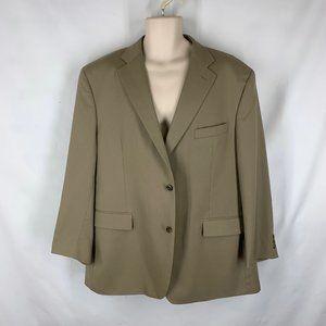 Mens 48R 100% Wool Beige Blazer Jacket Khaki